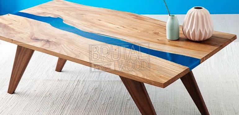 Кофейный стол река из слэба
